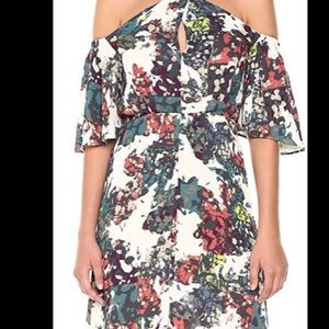 NWOT BCBG Maxazria floral off the shoulder maxi